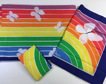 Vera Bright Twin Flat Sheet and Two 2 Pillowcases Rainbow Butterflies Butterfly Psychedelic Set 70s 1970s Brand New Never Used Unused