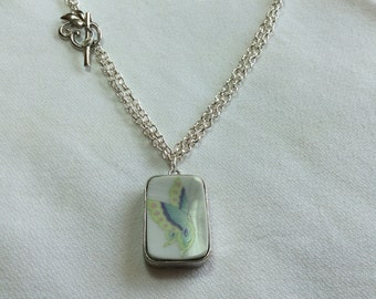 Beautiful Butterfly - Broken China Necklace
