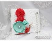 Wedding Lace Guest Book Pen Set Birthday Book Jeweled Book Custom Bridal Flower Brooch Book Beach Wedding  in White, Coral, Aqua Mint Blue