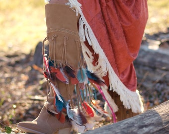 NEW amazing genuine suede leather tribal feathered boots tall boho tan brown fringe cowboy heel boots ethnic Indian western festival cowgirl