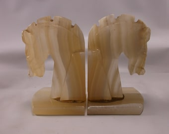 Alabaster Bookends  Horse Head Bookends Vintage Mid Century Modern Rare.epsteam