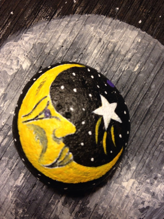 Painted rock moon phase paperweight painted rock for River rock craft ideas