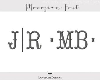 Tailor Monogram Font Three Sizes Font 1inch 1.5inch 2 inch Embroidery Design, Modern Monogram Font, Embroidery Design Font, Fishtail Font