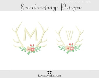 Floral Antlers Two Sizes Embroidery Design, Machine Embroidery Design, Tribal Floral Antlers, Antlers for Monogram, Modern Embroidery Design