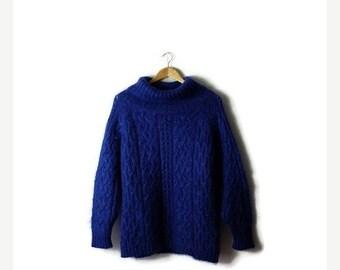 ON SALE Vintage Blue Turtle neck  Mohair Blends sweater form 90's/Oversized *
