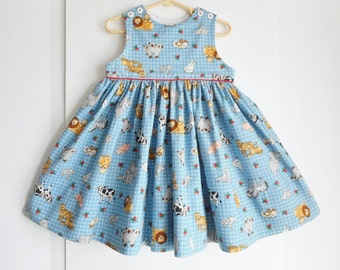 Professionally handmade sundress or jumper size 3T-4T farm and zoo animals full twirly skirt boutique quality