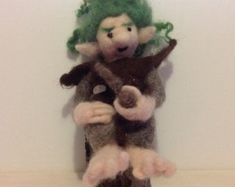 Needle felted Troll on a Stump