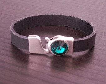 Black leather strap with Swarovskistein, 6 colours to choose from