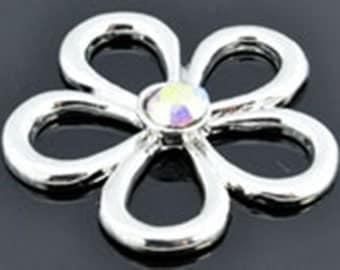 Silver Pendant, flower with Rhinestone, 33 x 28 mm