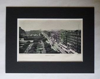 1890s Antique Edinburgh Print of Princes Street, Available Framed, Scottish Art, Scotland Decor, St Andrew's Day Gift Scots Picture New Town
