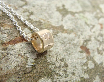 Personalised 9ct Gold Tube Charm on Sterling Necklace