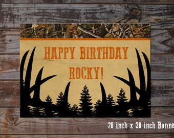 Hunting Birthday Banner - 20 inches x 30 inches