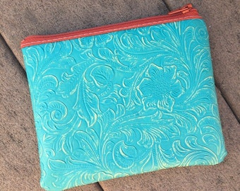 Zip Pouch in Turquoise (Small)