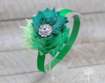 St Patricks Day Headband - Green Three Flower Headband - St Pattys Day Headband - Green Trio Headband - Baby Headband - Adult Headband