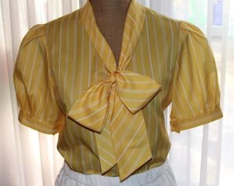 Vintage 1960's Short Sleeve Secretary Blouse
