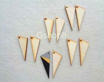 Wood Triangles pendants, Laser Cut Wood Triangles Tile for Jewelry, Geometric Jewelry,