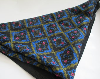Vintage Black, Blue, Gold and Pink Geometric/ Repeating / Floral Pattern Square Scarf / Handkerchief