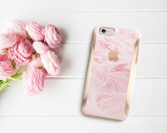 Platinum Edition Pink Marble Swirl with Rose Gold Detailing Hybrid Hard Case Otterbox Symmetry for the iPhone 6/6s, iPhone 6/6s Plus
