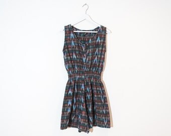 on sale - blue and pink ikat romper / sleeveless southwestern mini jumpsuit / size M / L