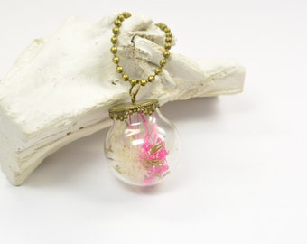 Necklace real Dandelion and flower