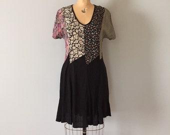 1990s mini dress | rayon patchwork dress