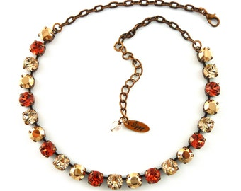 Swarovski Crystal Necklace, Padparadscha, Silk, Rose Gold, 8mm Swarovski Set, Wedding Jewelry, SELECT a Finish, Siggy Jewelry, FREE SHIPPING