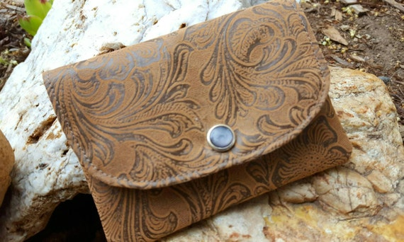 Ready to ship!  Faux Tooled Leather  Business Card Holder, Small Fabric Wallet, Brown Tooled Billfold