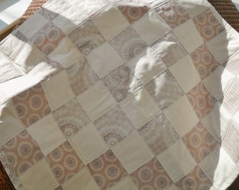 neutral cream and stone handmade patchwork cot quilt, baby blanket, lap quilt