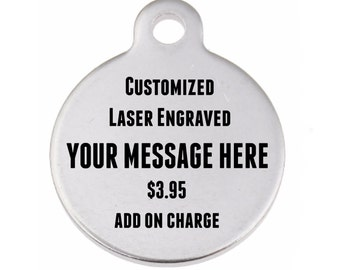ADD ON Custom Made Charm - Laser Engraved Charm - Personalized Pendant - Stainless Steel Charm Engraving - Personalized Jewelry - Name Charm