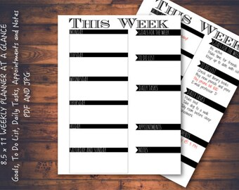 Minimalist Weekly Planner Printable Page, 8.5 x 11 Planner, Week On One Page, Week At A Glance, JPG & PDF