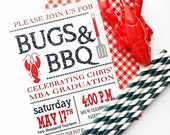 Crawfish Boil Invitation with Envelopes, Crawfish Couple's Shower, Graduation Party, Bugs and BBQ, Seafood Crawfish Party