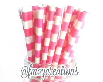Hot Pink PAPER STRAWS | Circle Paper Straws | Sailor Striped Paper Straws Pink Baby Shower | Pink Birthday Party | Bachelorette Party Decor