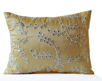 Yellow throw pillows bead sequin detail, Leaves pillow, Silk pillow, Cushion cover zipper, All Sizes, Yellow white pillow,  Crystal Pillow