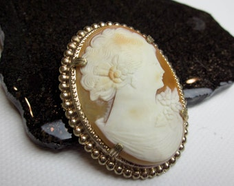 "2"" Deco Shell Cameo Pin/ Brooch, Sterling/ Gold Wash, ca.1930, Torre del Greco, Italy."
