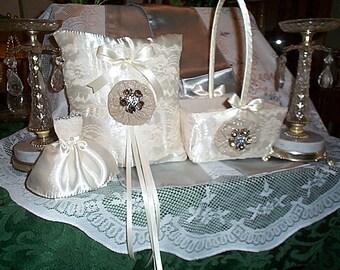 Ivory Satin Flower Girl Basket and Ring Bearer Pillow