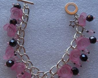 Pink Rose Charm Bracelet