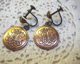 Vintage Copper Disc Earrings...Monogrammed Screw Back Earrings...Circa 1950s....Copper Earrings