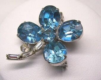 Vintage TEAL 4 Leaf Clover Brooch...Teal Rhinestone Flower...Bouquet Brooch...Rhinestone Stem...Open Foiled Back