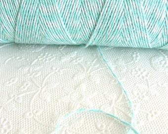 100 Yard Spool Aqua and White Baker's Twine | Aqua Cotton Twine | Aqua Baker's Twine | Aqua and White Twine