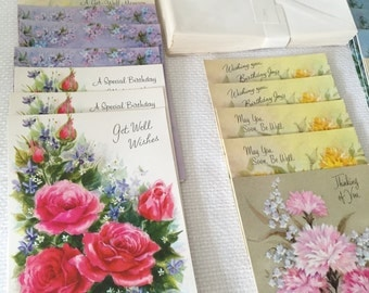 Greeting Cards All Occasion Assortment 20 Cards Envelopes Box Vintage Greeting Cards