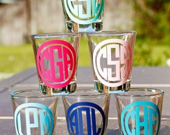 Monogrammed shot glasses // bridal party gifts // batcherlotte party // 21st birthday gifts