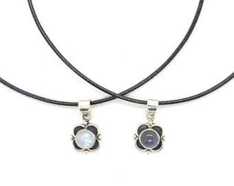 Rainbow Moonstone Choker, Labradorite Choker, Sterling Silver Gemstone Choker, Gemstone Necklace, Black Choker, Sterling Silver Choker