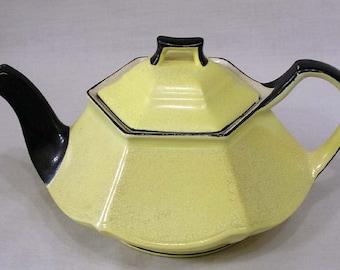 Vintage Ceramic Teapot Czech Yellow with Black Handle Spout Trim