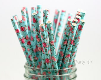 FLORAL Shabby Chic Pattern Paper Straws with FREE Printable Flags (25 count)