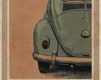 Volkswagen Type 1 Beetle - Rear - Vintage Style Poster