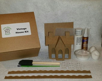 Putz style cottage with flicker light diy complete kit for Complete home building kits