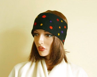 Felted headband  with colored dots Black headband  Multicolor headband
