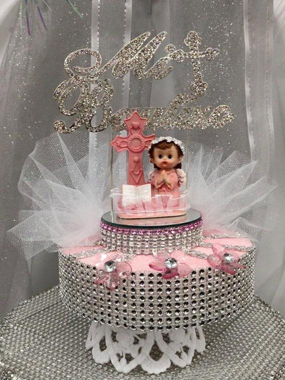 Mi bautizo pink girl or blue boy cake topper centerpiece
