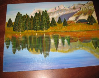 """ORIGINAL OIL PAINTING Northwest Landscape Reflection Of Pine Trees In The Water, Mountains, Barn On Wood Canvas Stretcher Frame 18"""" x 24"""""""