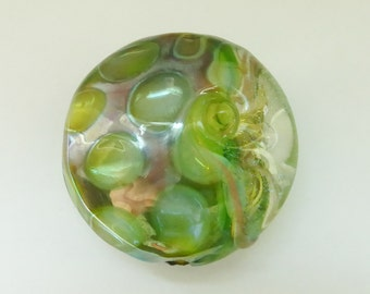 Glass lampwork bead with silver glass. focal lampwork bead.